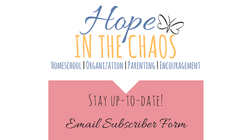 email, subscriber, subscriber form, how to subscribe, hope in the chaos